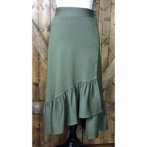 Du Jour Olive Green Button Up Ruffle XXS Skirt